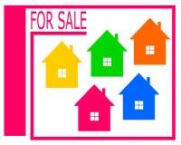 Vektorteckning av en till salu logo för hus vektor illustrationer