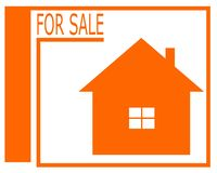 Vektorteckning av en till salu logo för hus stock illustrationer