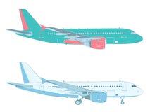 Vektorteckning av en trafikflygplan på vit bakgrund Royaltyfria Bilder