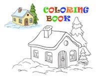 Vektorteckning av ett hus färga för ungar Arkivbilder