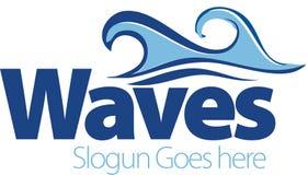Vektorteckning av havsvågor Vågsymbol Logomall Royaltyfri Bild