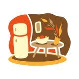 Vektorteckning av hemmiljöer Kök Fred och komfort royaltyfri illustrationer