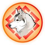 Vektorteckning av hunds huvud Stock Illustrationer