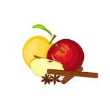 Vektorteckning av några äpplen med kryddan Smaklig färgrik design för gul och röd grupp för äpplefruktanis kanelbrun Royaltyfri Bild