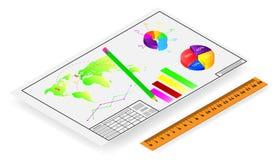 Vektorteckning, blyertspenna med en linjal och finansiella grafer stock illustrationer