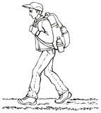Vektorteckning. Handelsresande med ryggsäcken royaltyfri illustrationer
