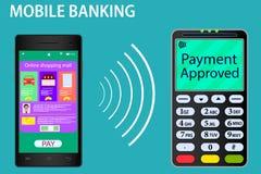 Vektorteckning p? ?mneonline-betalningarna Bildsmartphone och terminal E-kommers som visas p? ljust, f?rg royaltyfri illustrationer