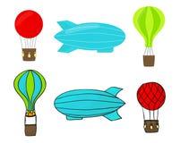Vektorteckningsballonger och luftskeppuppsättning Fotografering för Bildbyråer