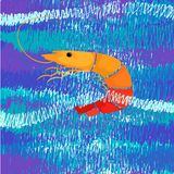 Vektorteekunst Garnelen-Meerwasserozean lizenzfreies stockbild