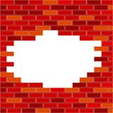 Vektortegelstenvägg med röd hål- och prövkopiatext - royaltyfri illustrationer
