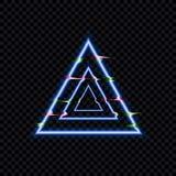 Vektortekniskt feleffekt, glödande förvridna trianglar, neonsymbolsmall isolerade royaltyfri illustrationer