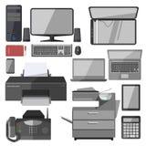 Vektorteknologiutrustning för kontor royaltyfri illustrationer