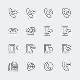 Vektortelefon och kommunikationsminisymboler Fotografering för Bildbyråer