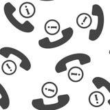 Vektortelefonikone und Buchstabe I Erhalten Sie Hilfe über das nahtlose Muster des Telefons auf einem weißen Hintergrund Schichte lizenzfreie abbildung