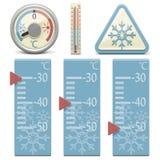Vektortermometer och snötecken royaltyfri illustrationer