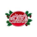 Vektortext der frohen Weihnachten kalligraphische Beschriftung verziert mit grünen Baumasten und Kegeln Lizenzfreie Stockfotografie