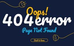 Vektortext-Designschablone der Seite mit 404 Fehlern nicht gefundene für Website mit blauer Hintergrundgraphik Lizenzfreie Stockfotografie