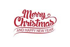 Vektortext kalligraphische Briefgestaltungs-Kartenschablone der frohen Weihnachten stockfotos