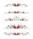 Vektortextteiler mit Erdbeere und Blättern Lizenzfreie Stockfotos