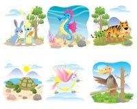 Vektortiersatz, Kaninchen, Seahorse, Tiger, Schildkröte, Pferd, Einhorn, vektor abbildung