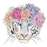 Vektortiger i en krans av blommor hipster Hälsningkort med en tiger Arkivbild
