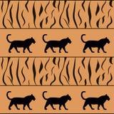tigerbakgrund med silhouetten Vektor Illustrationer