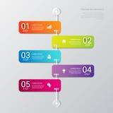 Vektortimelineprocessen kliver etikettmallbakgrund royaltyfri illustrationer