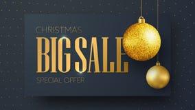 Vektortitelradmall för julförsäljning Arkivbilder