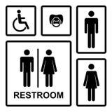 Vektortoalettsymboler med män, kvinnor, dam, man Arkivbild