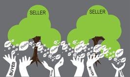 Vektorträd av köpare- och säljarebegreppet Arkivbild