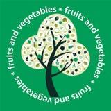Vektorträd som göras av frukter och grönsak-illustration Royaltyfri Foto