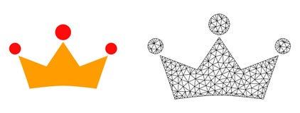 Vektortrådram Mesh Crown och plan symbol royaltyfri illustrationer