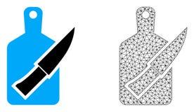 Vektortrådram Mesh Cutting Board och kniv och plan symbol vektor illustrationer