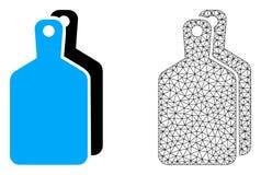 Vektortrådram Mesh Cutting Boards och plan symbol stock illustrationer