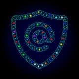 Vektortrådram Mesh Email Address Protection med ljusa fläckar för Chistmas royaltyfri illustrationer