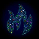 Vektortrådram Mesh Fire med glödande fläckar för nytt år vektor illustrationer