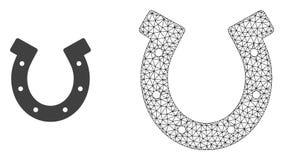 Vektortrådram Mesh Horseshoe och plan symbol royaltyfri illustrationer