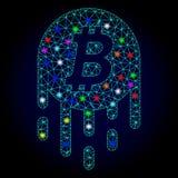 Vektortrådram Mesh Melting Bitcoin med ilsken blickfläckar för Chistmas royaltyfri illustrationer