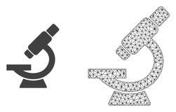 Vektortrådram Mesh Microscope och plan symbol stock illustrationer