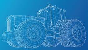 Vektortraktor Weicher Fokus Spurillustration des Draht-Rahmens von 3d Vektorformat ENV 10 stock abbildung