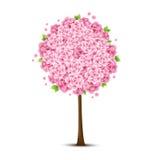 Vektortree med rosa blommor Arkivbild