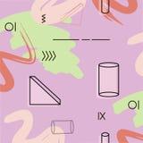 Vektortriangel och cylindermodell i violett färg Geometrisk gräsplanabstrakt begreppgarnering Upprepa tegelplattadesignen Minsta  Royaltyfria Bilder