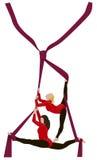 Vektortryck av två gymnastiska flickor på den röda slipsen Royaltyfri Fotografi
