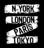 Vektortypographie New York London Paris Tokyo Lizenzfreie Stockfotos
