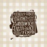Vektortypographieplakat mit Sandwichikone anführungsstrich Lizenzfreies Stockfoto