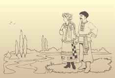 Vektorukrainische Paare in den nationalen Kostümen Lizenzfreie Stockfotos