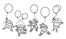 Vektorungar med ballonger Arkivfoto