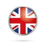 Vektorunion Jack Button Förenade kungariket flagga i glass knappst Arkivfoto