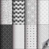 Vektoruppsättning av åtta monokromma sömlösa modeller Modernt stilfullt Royaltyfri Bild