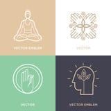 Vektoruppsättning av abstrakta logodesignmallar och symboler Royaltyfri Foto